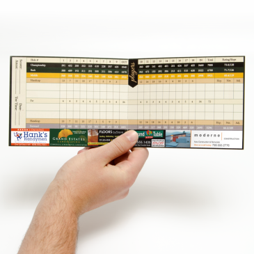 example of a golf scorecard with advertisements