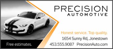 auto shop single size scorecard advertisement