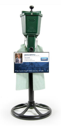 golf ball washer with a realtor advertisement