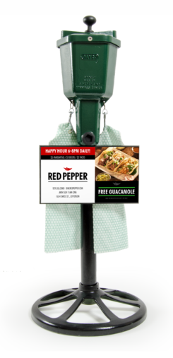 golf ball washer with a restaurant advertisement